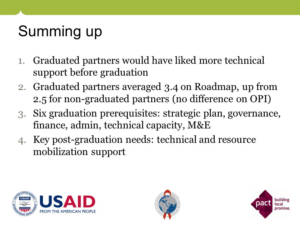 Summing up 1.Graduated partners would have liked more technical support before graduation 2.Graduated partners averaged 3.4 on Roadmap, up from 2.5 fo