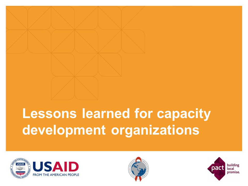 Lessons learned for capacity development organizations