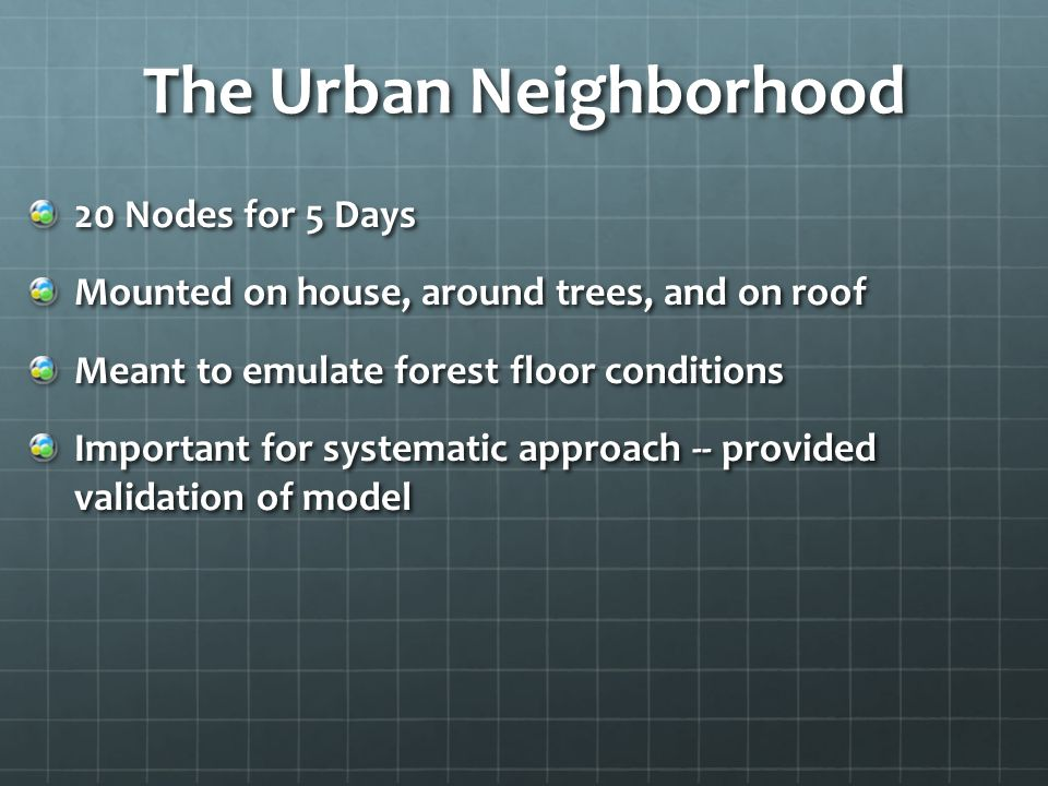 Urban Neighborhood Energy Harvested Every node received enough sunlight