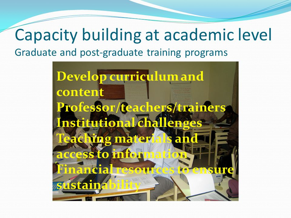 Capacity building at academic level Graduate and post-graduate training programs Develop curriculum and content Professor/teachers/trainers Institutional challenges Teaching materials and access to information Financial resources to ensure sustainability