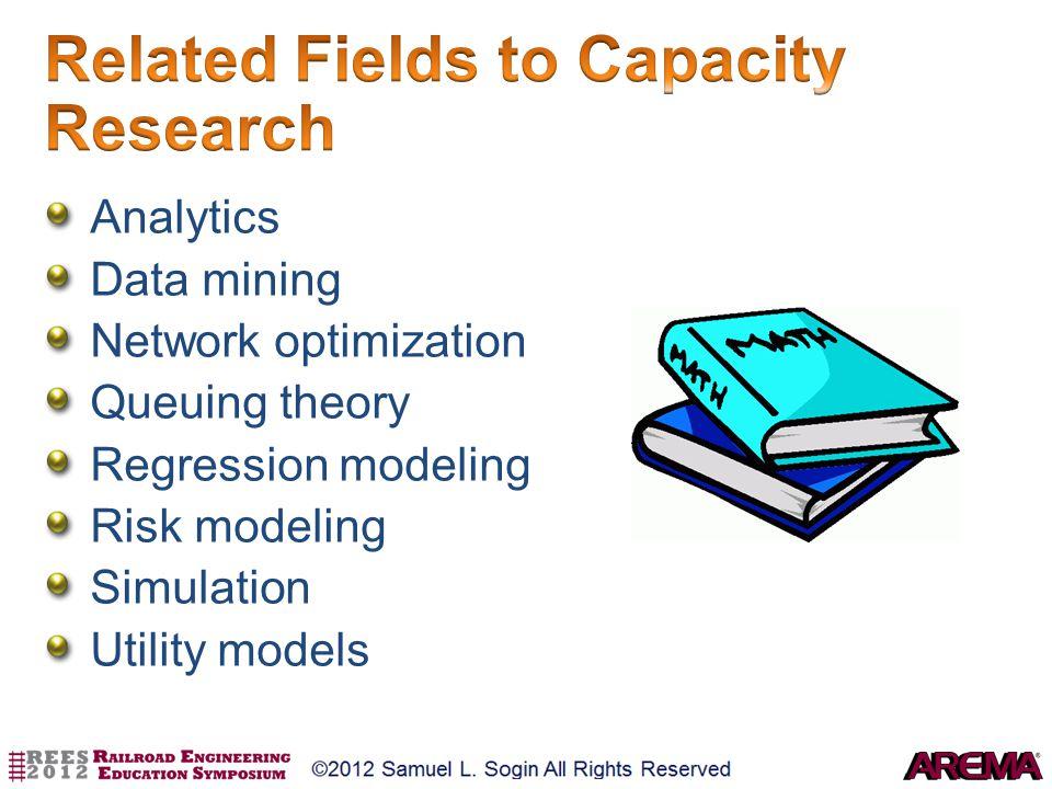 Analytics Data mining Network optimization Queuing theory Regression modeling Risk modeling Simulation Utility models