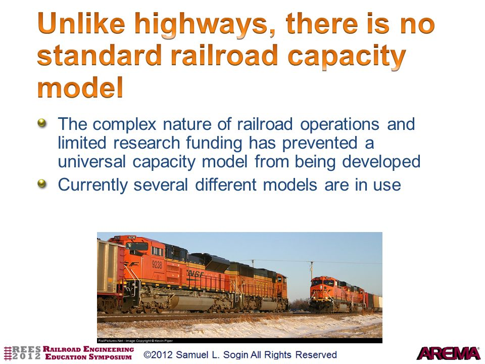 The complex nature of railroad operations and limited research funding has prevented a universal capacity model from being developed Currently several