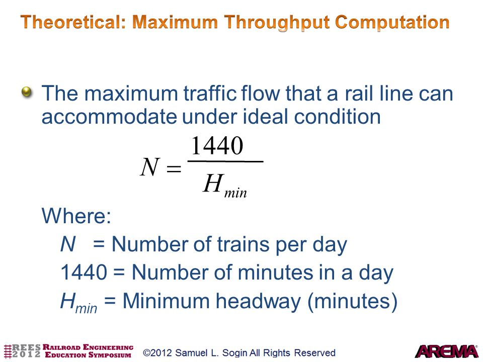 The maximum traffic flow that a rail line can accommodate under ideal condition Where: N = Number of trains per day 1440 = Number of minutes in a day
