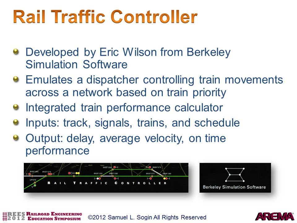 Developed by Eric Wilson from Berkeley Simulation Software Emulates a dispatcher controlling train movements across a network based on train priority
