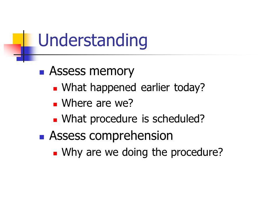 Understanding Assess memory What happened earlier today.