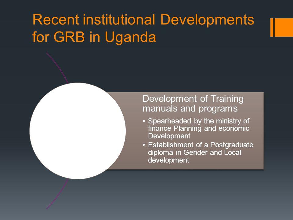 Recent institutional Developments for GRB in Uganda Establishment of Master degree in gender Aware Economics.