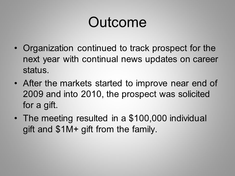 Outcome Organization continued to track prospect for the next year with continual news updates on career status.