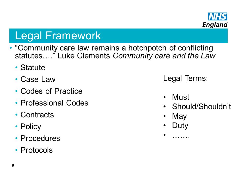 Legal Framework Community care law remains a hotchpotch of conflicting statutes…. Luke Clements Community care and the Law Statute Case Law Codes of P