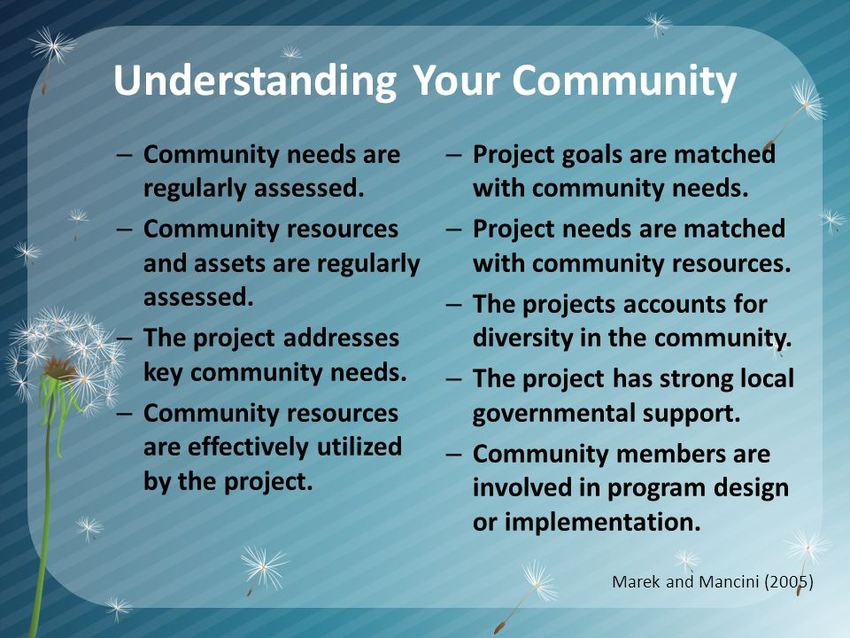 Understanding Your Community – Community needs are regularly assessed.