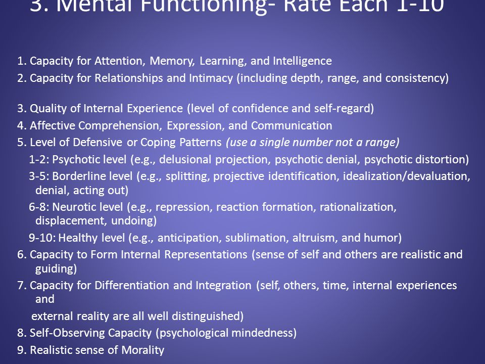 3. Mental Functioning- Rate Each