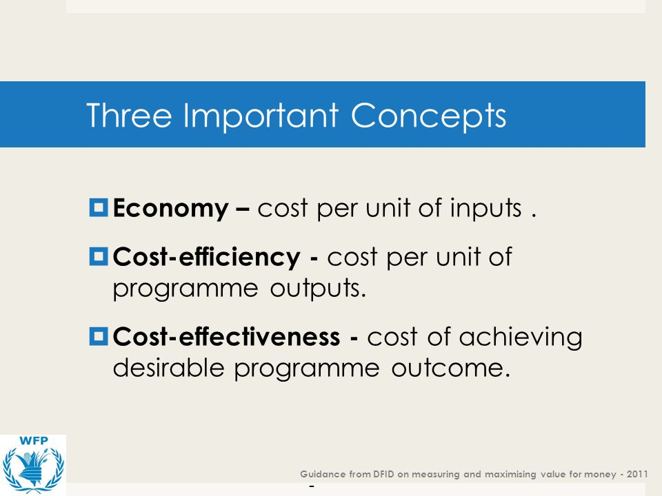 -6 --6 - Value for Money – cost efficiency Three Important Concepts Economy – cost per unit of inputs. Cost-efficiency - cost per unit of programme ou
