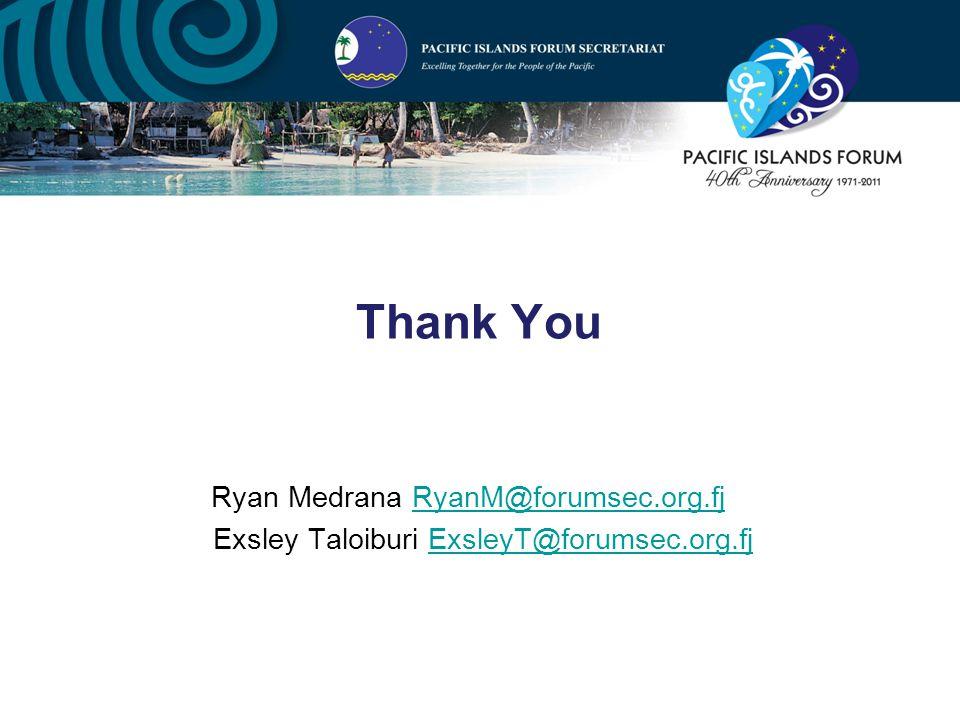 Thank You Ryan Medrana RyanM@forumsec.org.fjRyanM@forumsec.org.fj Exsley Taloiburi ExsleyT@forumsec.org.fjExsleyT@forumsec.org.fj
