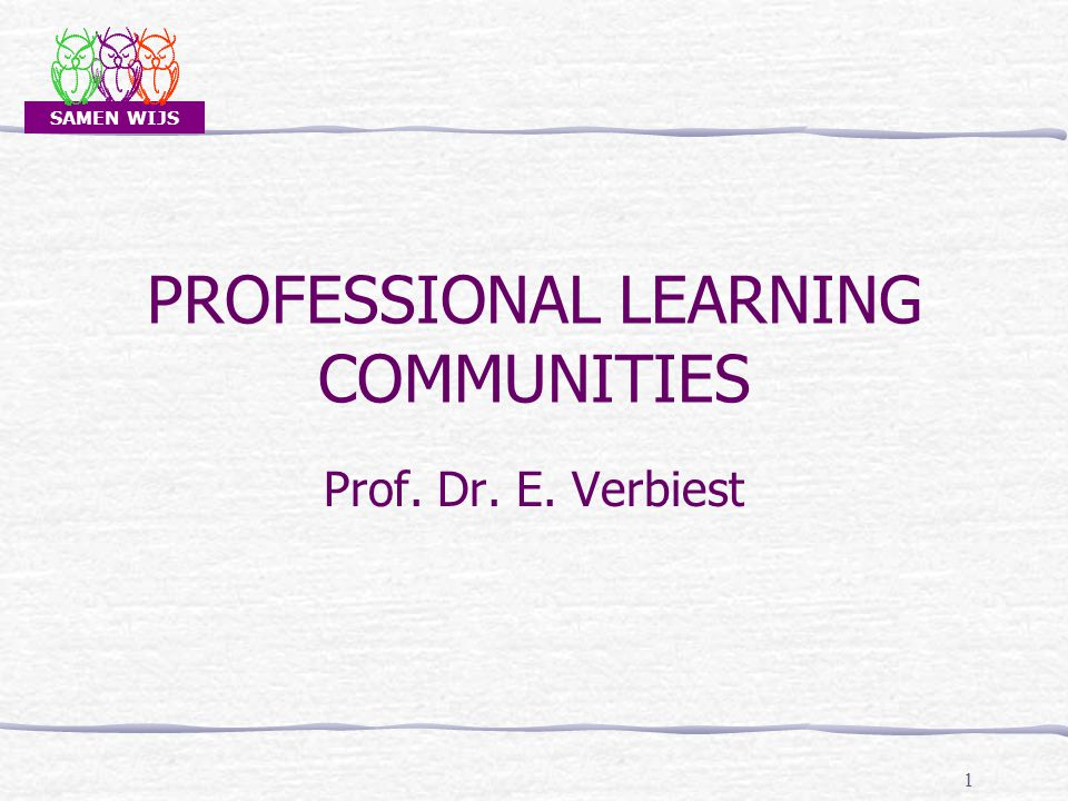 SAMEN WIJS PROFESSIONAL LEARNING COMMUNITIES Prof. Dr. E. Verbiest 1