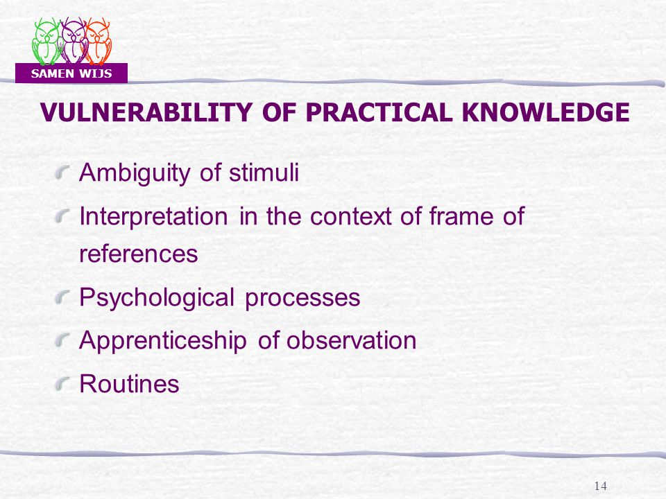 SAMEN WIJS 14 VULNERABILITY OF PRACTICAL KNOWLEDGE Ambiguity of stimuli Interpretation in the context of frame of references Psychological processes Apprenticeship of observation Routines