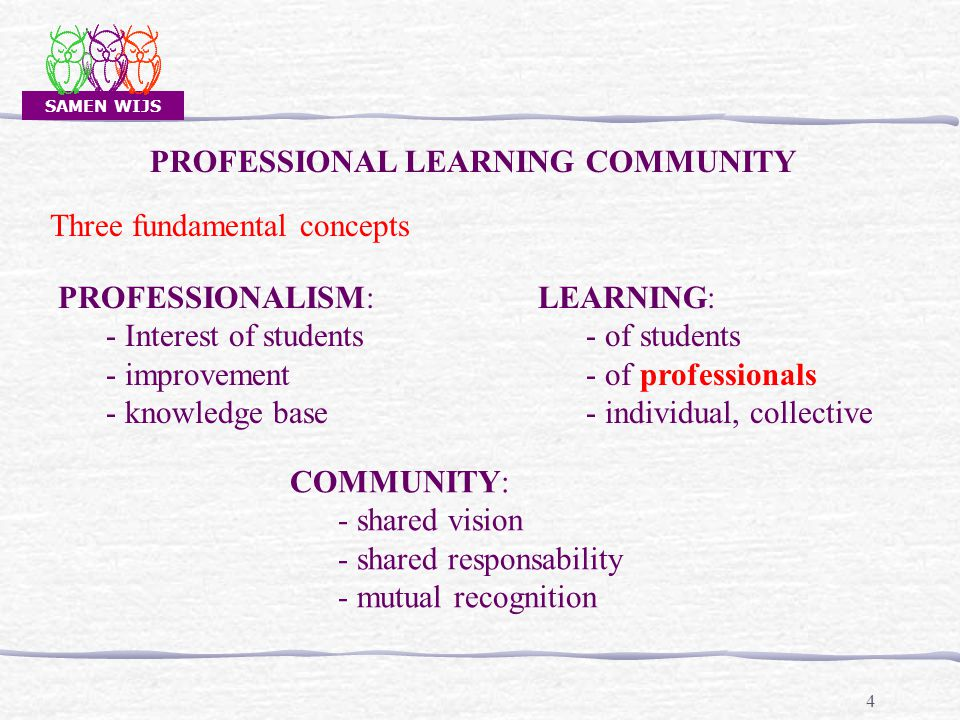 SAMEN WIJS 25 CAPACITY / DIMENSION DEEPENINGDEEPENING ANCHORINGANCHORING BROADENINGBROADENING LESS MORE THE DEVELOPMENT OF A SCHOOL AS A PROFESSIONAL LEARNING COMMUNITY