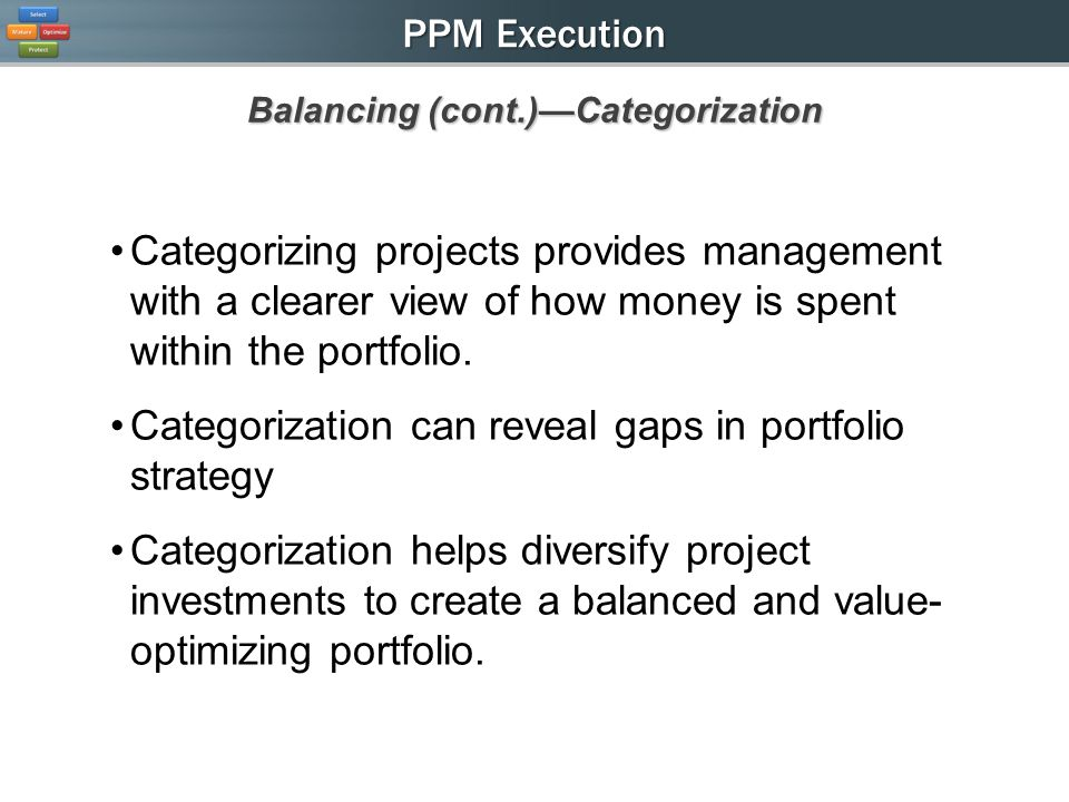 PPM Execution Categorizing projects provides management with a clearer view of how money is spent within the portfolio.