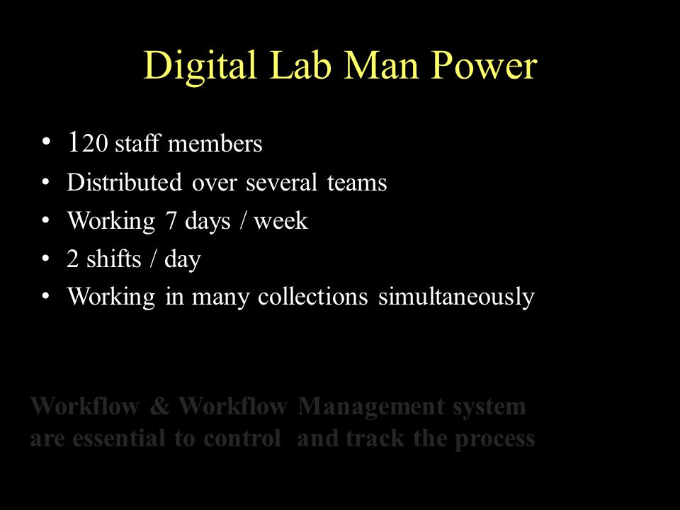 Digital Lab Man Power 1 20 staff members Distributed over several teams Working 7 days / week 2 shifts / day Working in many collections simultaneously Workflow & Workflow Management system are essential to control and track the process