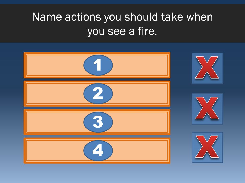 Name actions you should take when you see a fire.