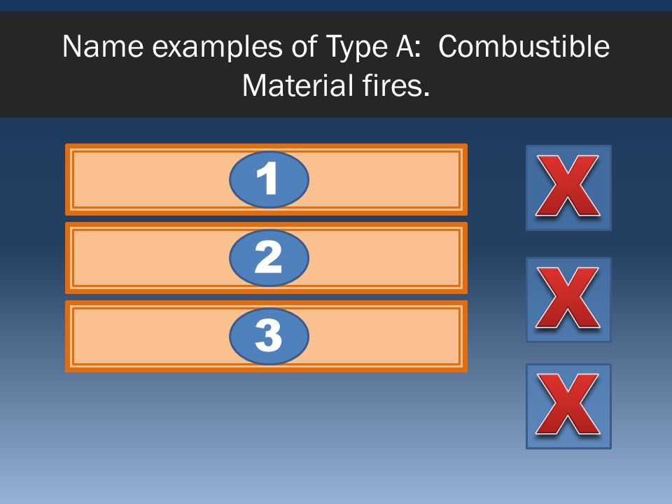 Name examples of Type A: Combustible Material fires. ClothWoodPaper 321