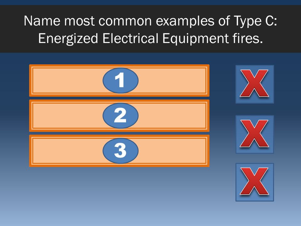 Name most common examples of Type C: Energized Electrical Equipment fires.