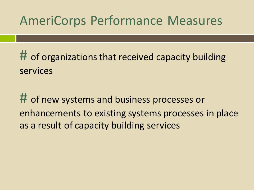 AmeriCorps Performance Measures # of organizations that received capacity building services # of new systems and business processes or enhancements to existing systems processes in place as a result of capacity building services