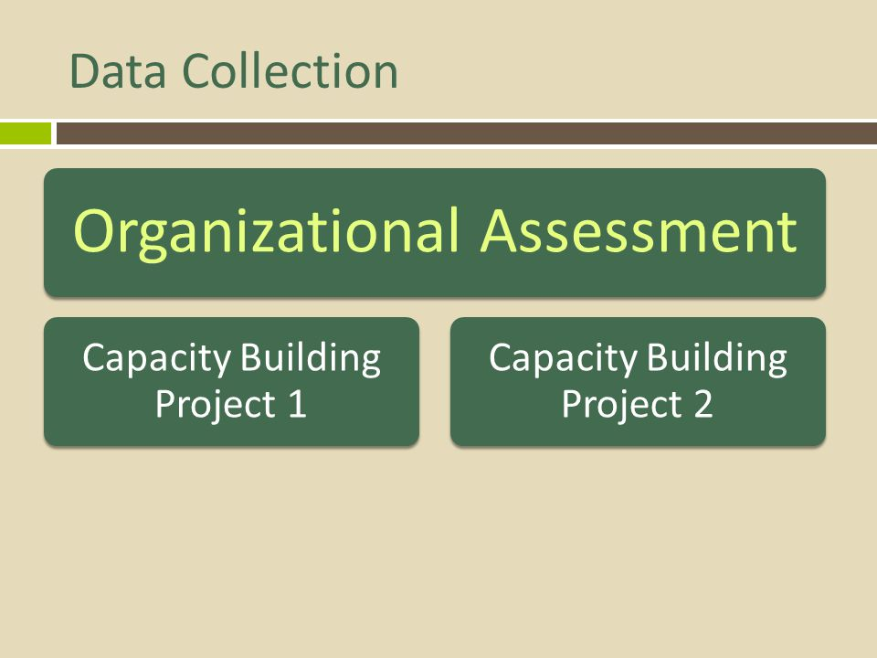 Data Collection Organizational Assessment Capacity Building Project 1 Capacity Building Project 2
