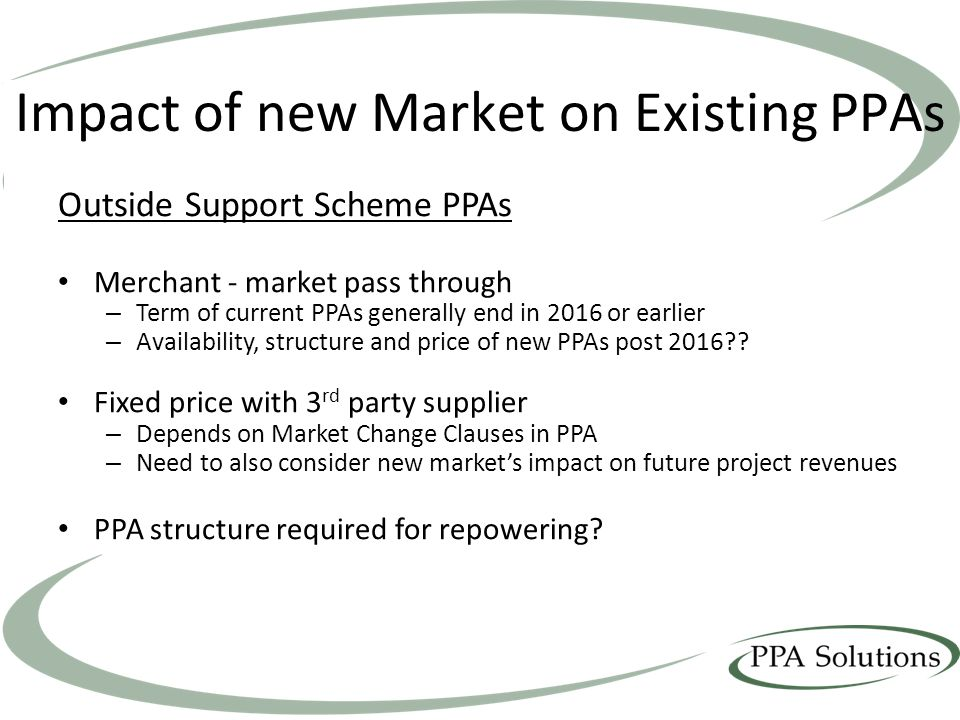 Impact of new Market on Existing PPAs Outside Support Scheme PPAs Merchant - market pass through – Term of current PPAs generally end in 2016 or earlier – Availability, structure and price of new PPAs post 2016?.