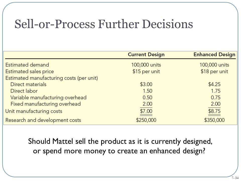 7- 34 Should Mattel sell the product as it is currently designed, or spend more money to create an enhanced design.