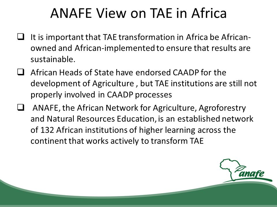 ANAFE View on TAE in Africa It is important that TAE transformation in Africa be African- owned and African-implemented to ensure that results are sus