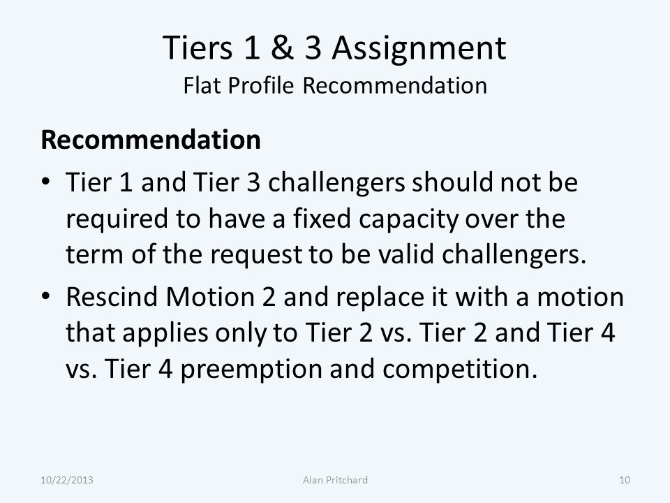 Tiers 1 & 3 Assignment Flat Profile Recommendation Recommendation Tier 1 and Tier 3 challengers should not be required to have a fixed capacity over t