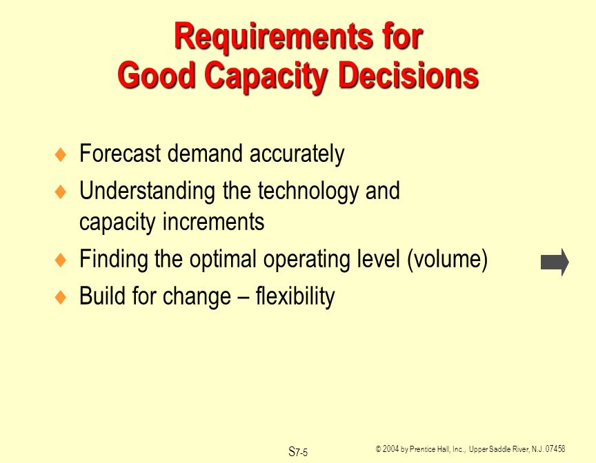 © 2004 by Prentice Hall, Inc., Upper Saddle River, N.J. 07458 S 7-5 Requirements for Good Capacity Decisions Forecast demand accurately Understanding