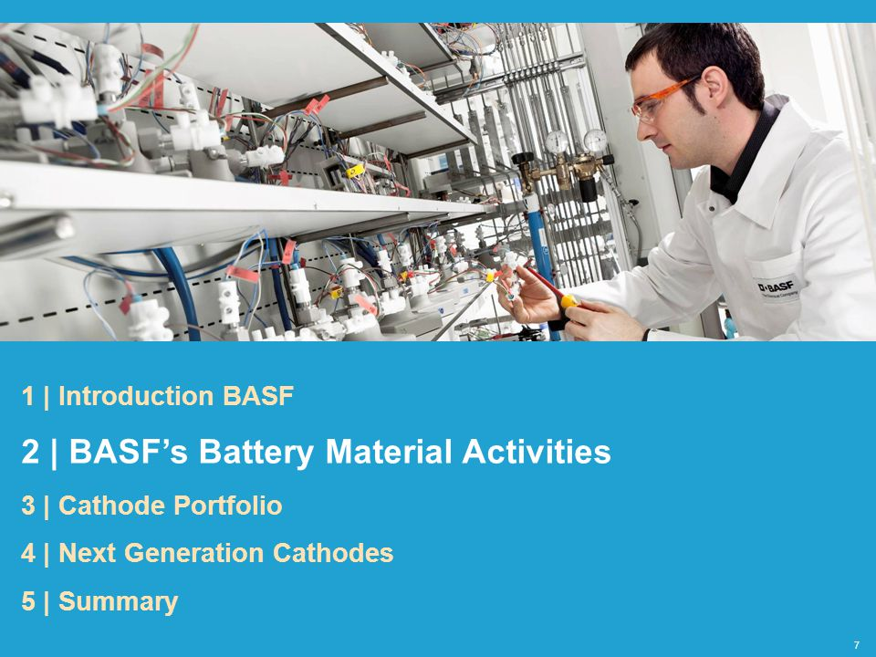 BASF products BASF R&D Li-Intercalation Anode Electrolyte Cathode Binder Li-Batteries for Automotive Applications Overview: Lithium Ion Battery Material Solutions by BASF Battery Cell Chemistry: Decrease cost Increase range Increase lifetime