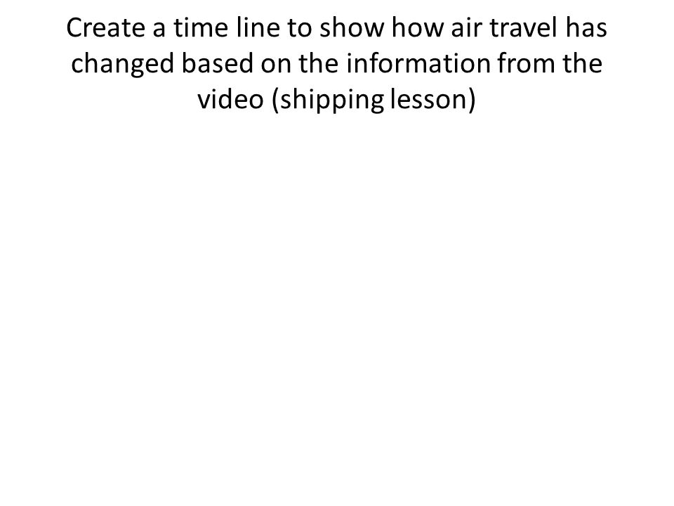 Create a time line to show how air travel has changed based on the information from the video (shipping lesson)