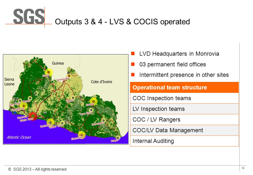 12 Outputs 3 & 4 - LVS & COCIS operated © SGS 2013 – All rights reserved Operational team structure COC Inspection teams LV Inspection teams COC / LV