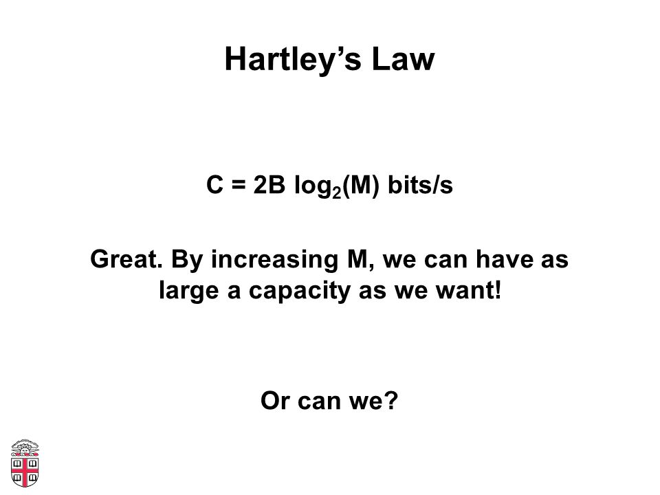 Hartleys Law C = 2B log 2 (M) bits/s Great.