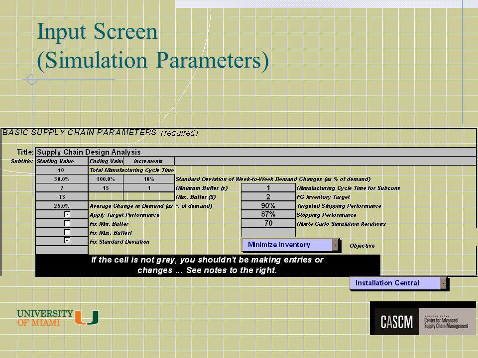 Input Screen (Simulation Parameters)
