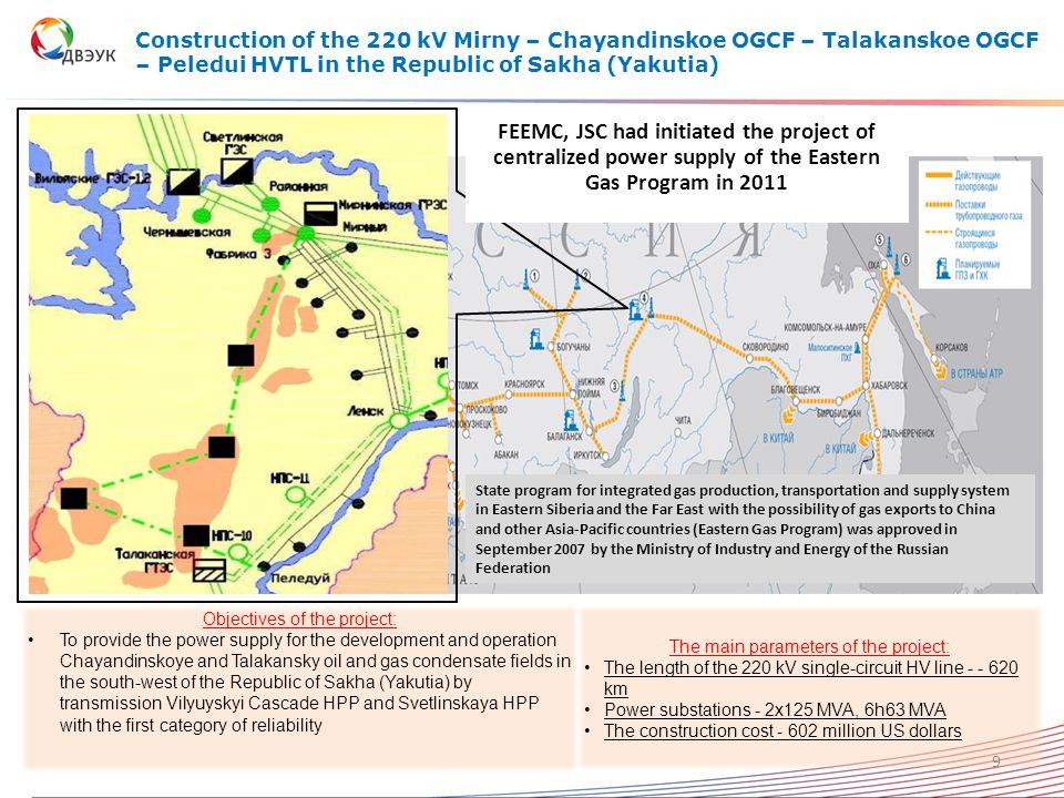 Construction of the 220 kV Mirny – Chayandinskoe OGCF – Talakanskoe OGCF – Peledui HVTL in the Republic of Sakha (Yakutia) Objectives of the project: To provide the power supply for the development and operation Chayandinskoye and Talakansky oil and gas condensate fields in the south-west of the Republic of Sakha (Yakutia) by transmission Vilyuyskyi Cascade HPP and Svetlinskaya HPP with the first category of reliability The main parameters of the project: The length of the 220 kV single-circuit HV line - - 620 km Power substations - 2x125 MVA, 6h63 MVA The construction cost - 602 million US dollars 9 State program for integrated gas production, transportation and supply system in Eastern Siberia and the Far East with the possibility of gas exports to China and other Asia-Pacific countries (Eastern Gas Program) was approved in September 2007 by the Ministry of Industry and Energy of the Russian Federation FEEMC, JSC had initiated the project of centralized power supply of the Eastern Gas Program in 2011
