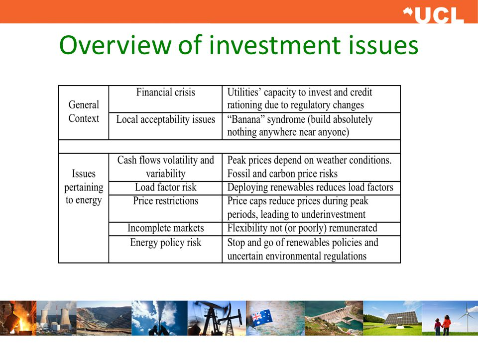 Overview of investment issues