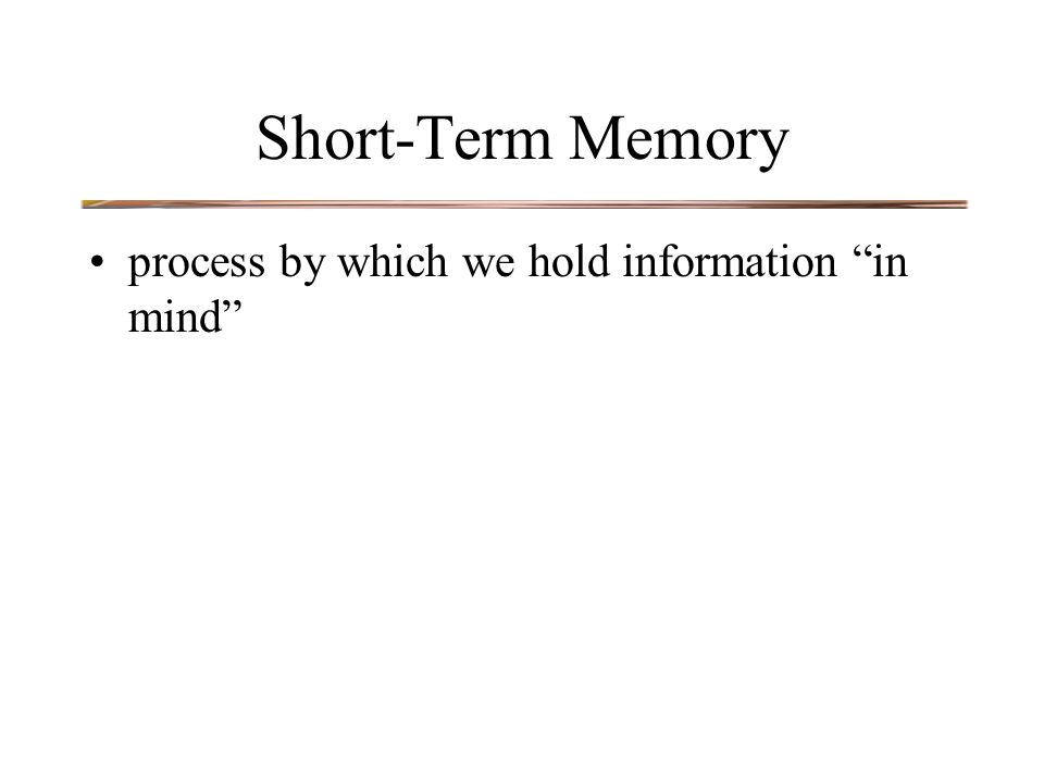 Short-Term Memory process by which we hold information in mind
