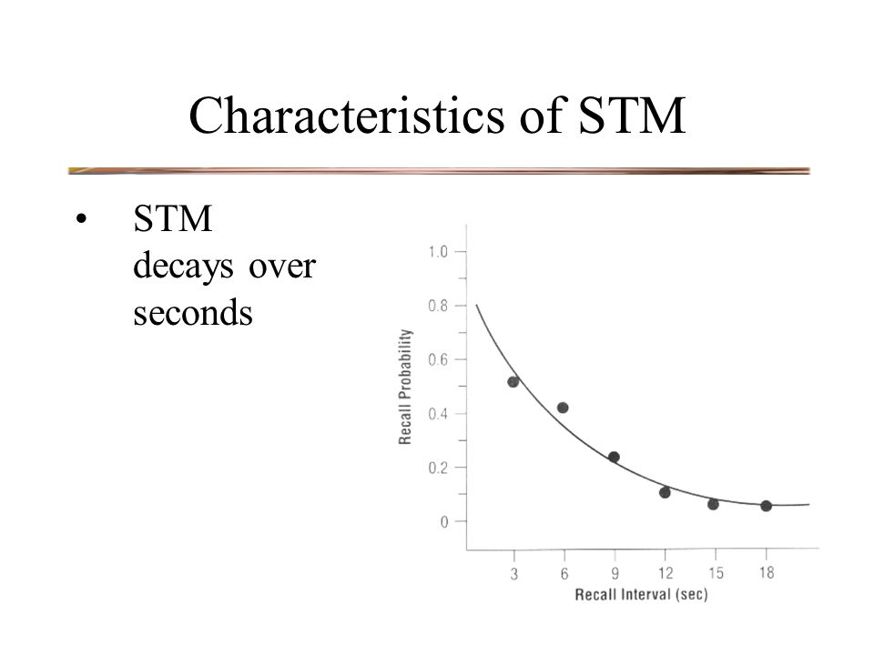 Characteristics of STM STM decays over seconds
