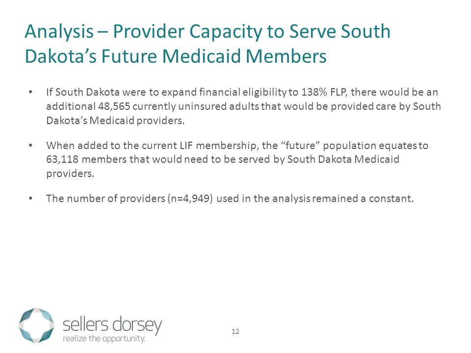 If South Dakota were to expand financial eligibility to 138% FLP, there would be an additional 48,565 currently uninsured adults that would be provided care by South Dakotas Medicaid providers.