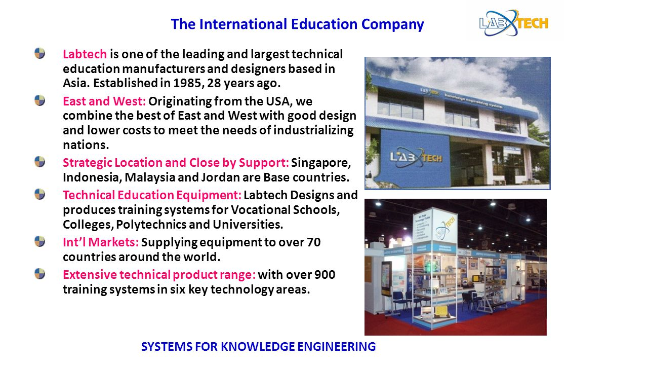 Labtech is one of the leading and largest technical education manufacturers and designers based in Asia. Established in 1985, 28 years ago. East and W