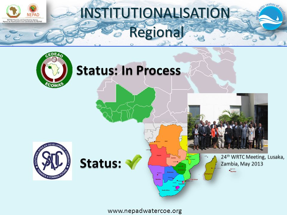 INSTITUTIONALISATIONRegional Status: Status: In Process 24 th WRTC Meeting, Lusaka, Zambia, May 2013