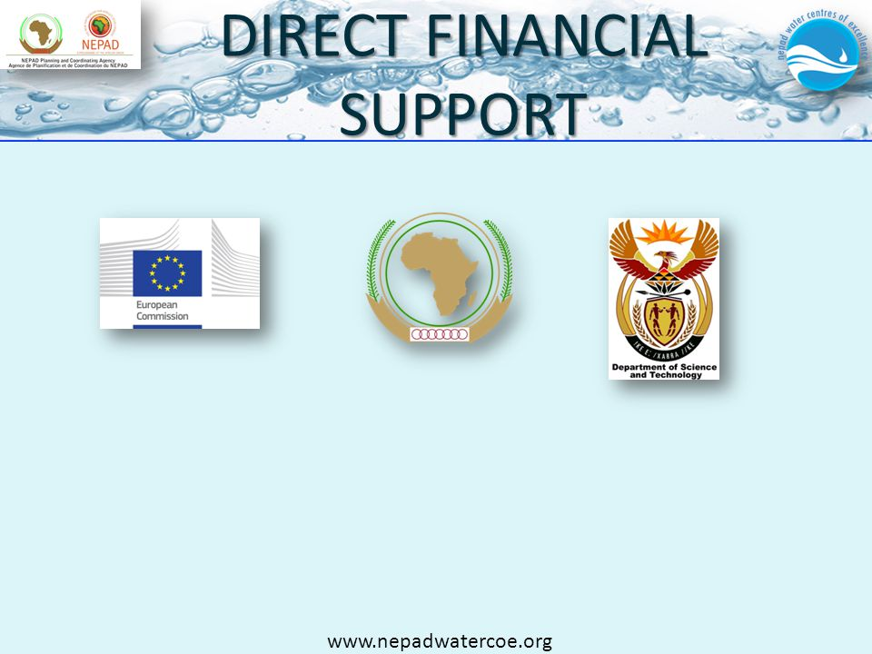DIRECT FINANCIAL SUPPORT www.nepadwatercoe.org