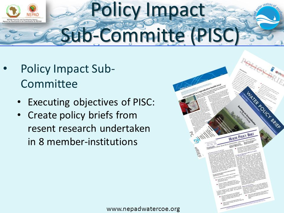 Policy Impact Sub-Committe (PISC) Policy Impact Sub- Committee Executing objectives of PISC: Create policy briefs from resent research undertaken in 8 member-institutions www.nepadwatercoe.org