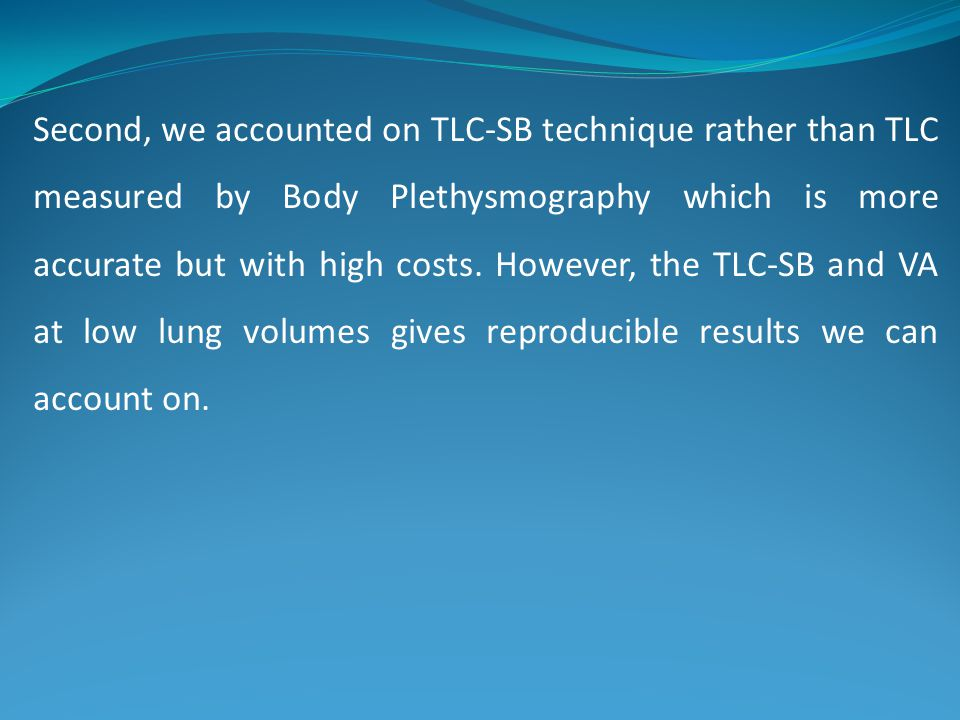 Second, we accounted on TLC-SB technique rather than TLC measured by Body Plethysmography which is more accurate but with high costs. However, the TLC