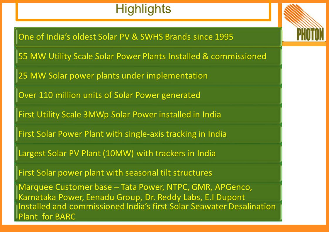 Photon Energy Systems Limited since 1995 is India s leading solar company, providing a wide range of Solar Solutions – Solar PV Modules, Solar Power plants (Megawatt & Off-grid) and Solar Water Heating Systems.