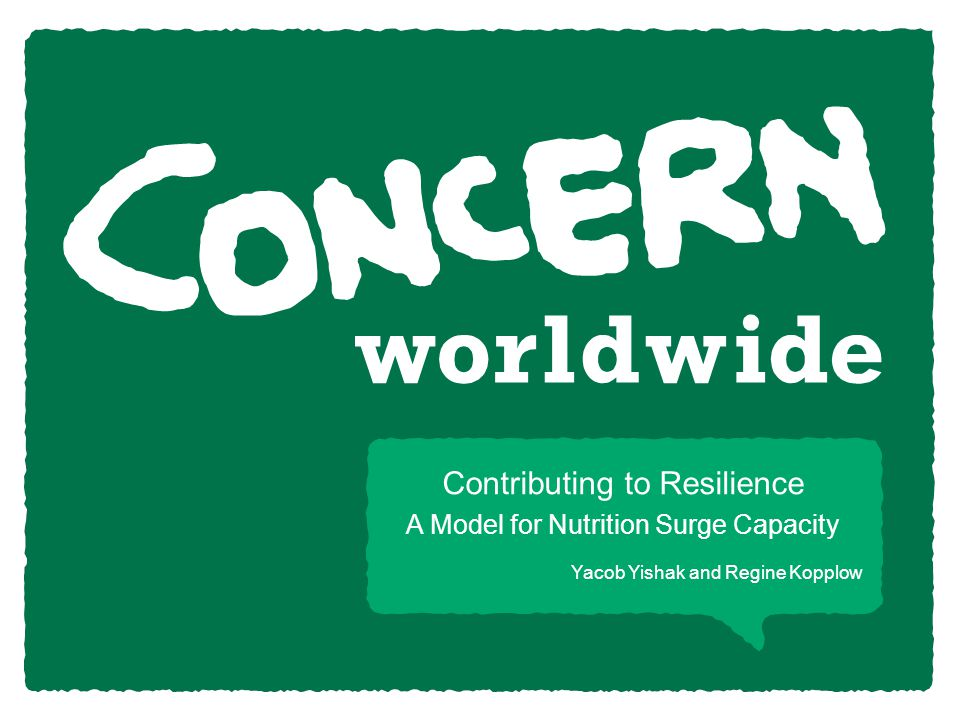 Yacob Yishak and Regine Kopplow Contributing to Resilience A Model for Nutrition Surge Capacity