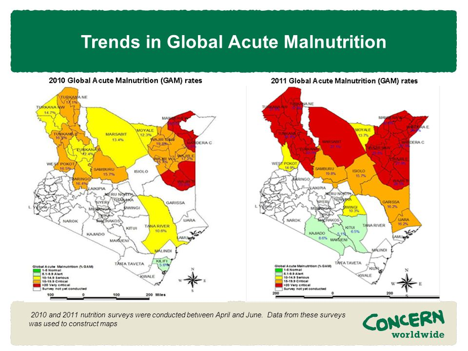 Trends in Global Acute Malnutrition 2010 and 2011 nutrition surveys were conducted between April and June.