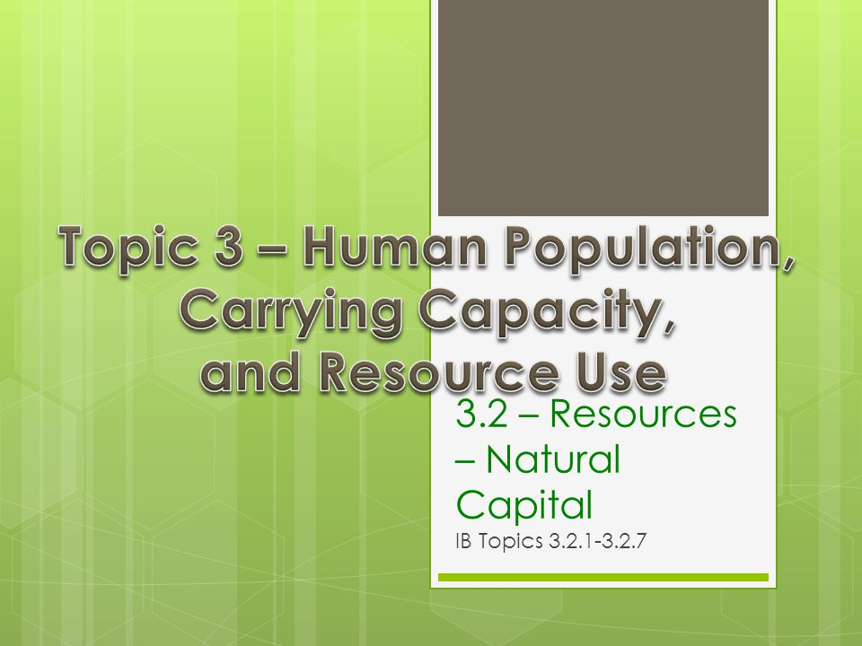 3.2 – Resources – Natural Capital IB Topics